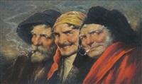 trois têtes d'hommes souriants (types du temps de goya) by roman arregui