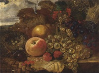 grapes, strawberries , a peach, a pear, red and white currants with a bird's nest on a ledge by james charles ward