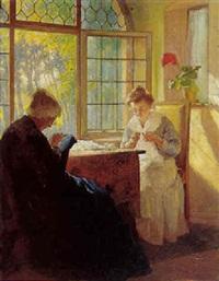 interior med bedstemor og ung kvinde der broderen ved et åbentstående vindue by max arenz