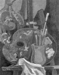 malerstilleben mit palette und pinseln by fritz vahle