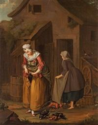 en qvinna slagtar höns (a woman slaughtering hens) by pehr hilleström