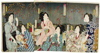 beauties watching fireworks (triptych) by kunitoshi toyohara