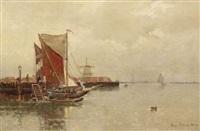 holländische küstenlandschaft mit schiffen an der mole by eugen kampf