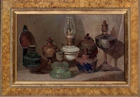 assorted oil lamps on a table by sergei mikhailov