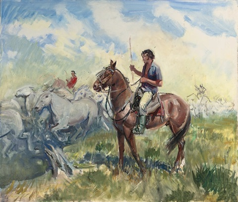 herding the horses by terence cuneo