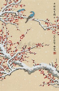 瑞雪花鸟 (birds and plum blossoms in the snow) by deng baiyuejin