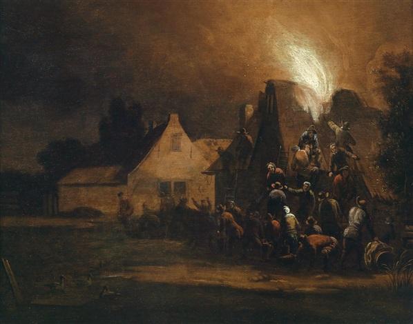 ein brennendes haus in einer nächtlichen stadt by egbert lievensz van der poel