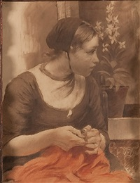 dutch girl sewing by walter macewen