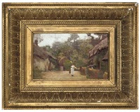 a milkmaid on a village street (+ sheep on a hillside; pair) by george harcourt sephton