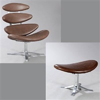corona esy chair and stool (set of 2) by poul volther