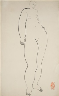 standing nude (femme nue debout) by sanyu