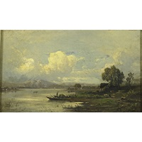 lake scene near munich by carl weber