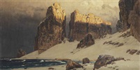 sunny cliffs near the north sea by eugen felix prosper bracht