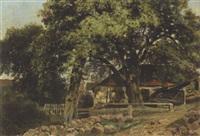 bauernhäuser unter alten bäumen (auf hiddensee?) by gustav pflugradt