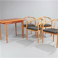 gaming table and armchairs (set of 5) by a. & j. wessmann
