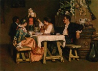 spanish figures settled for lunch by maurice udello