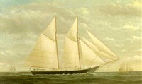yacht in full sail by james gardner babbidge