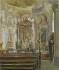 innenraum einer barockkirche (birnau?) by franz huth