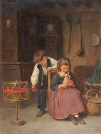 interior scene with a girl seated winding wool, a boy nearby holding a pair of scissors by joseph athanase aufray