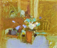 still life of flowers in a pot on a table top by george kennerley