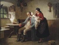 großvaters liebling. im stubeninterieur weckt ein kleinkind den eingeschlafenen großvater by wilhelm (the younger) rögge