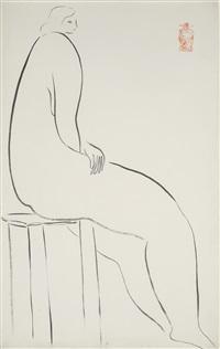 nude on a stool (nu sur un tabouret) by sanyu
