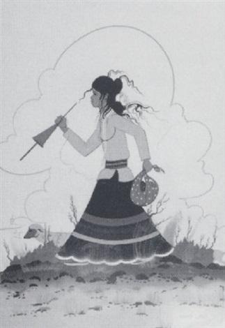 navajo girl tending her sheep by robert chee