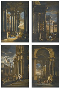 the angel appearing to abraham; the banishment of hagar; the departure of jacob; joseph recognised by his brothers (set of 4) by filippo (il bizzarro) gagliardi