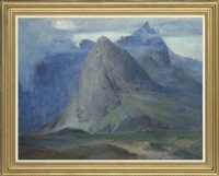 sgurr na h-uamha from the south, isle of skye (recto); portrait of a young girl (verso) by william mervyn glass