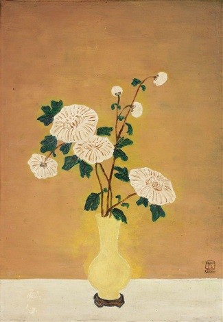 white chrysanthemums in yellow vase by sanyu