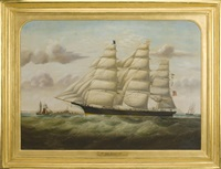 the clipper ship morning light picking up a pilot off the skerries by william gay yorke