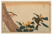 deux hakutô perchés sur une branche (oban yoko-e from kaihaku raikin zui) by kitao masayoshi