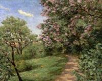 parkweg mit magnolienblüte by johann marx