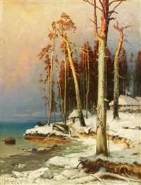 fischerdorf am peipussee. winterabend by yuliy yulevich (julius) klever