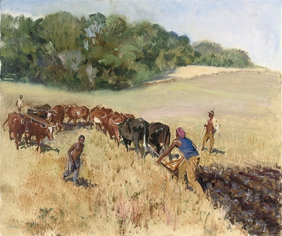 ploughing the fields by terence cuneo