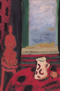 interno con statua rossa by giulio da milano