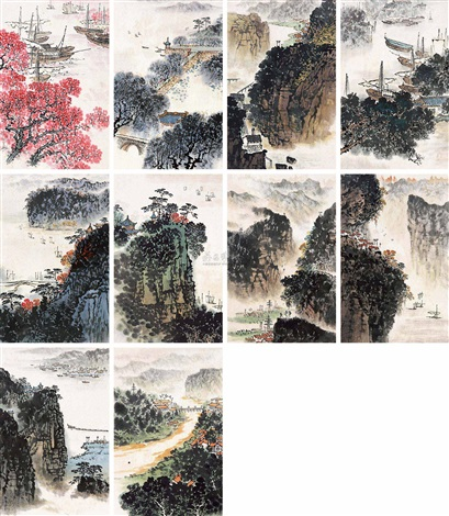 山水 set of 10 by anonymous chinese 20