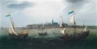schiffe mit der flagge der generalstaaten auf bewegter see vor einer hafenstadt by hendrik cornelisz vroom