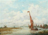 moored sailboats with distant windmill by adolphe ragon