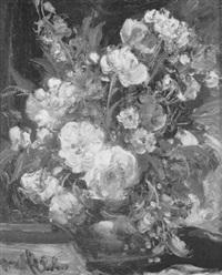 sommerblumenstrauss in einer glasvase by george albert dorschfeldt