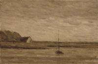 a sailboat moored on a quiet estuary by arthur douglas peppercorn