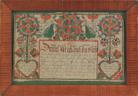untitled fraktur birth certificate for daniel mortz by anonymous american