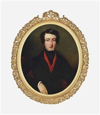 portrait of edward conroy, in a black coat and red scarf by frederick yeates hurlstone