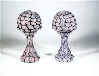 paar tischlampen ''pavone con nerox'' (pair) by ermanno toso