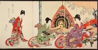 ladies and maids of the tokugawa shogun's court (album of triptychs)(12 works) by toyohara chikanobu