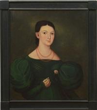 portrait of a woman in a green dress by american school (19)