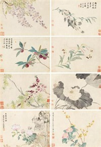 花卉 (album of 8) by ma yuanyu