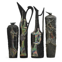 tall vases with figures (4 works) by marcello fantoni
