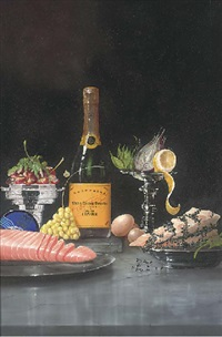 salmon, fruit, vegetables and champagne by paul karslake