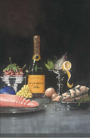 salmon fruit vegetables and champagne by paul karslake